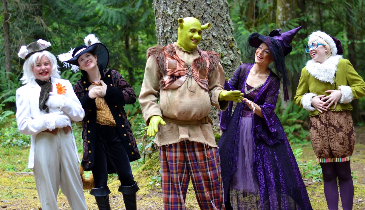 Shrek laughing with Fairy Tale Characters