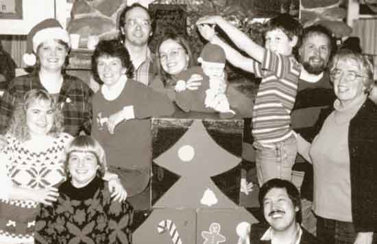 Players come in many guises. Cast of a Christmas Show musical review. - 1989